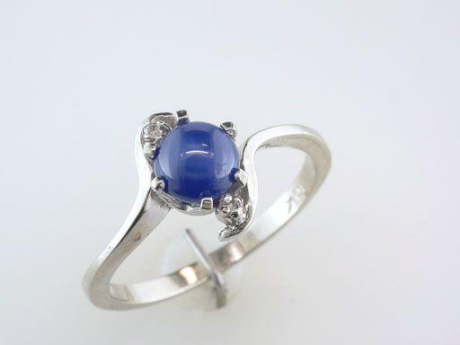 Antique Deco Genuine Blue Star Sapphire Diamond White Gold Engagement