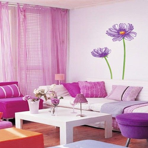 FLOWERS Adhesive Removable Wall Home Decor Accents Stickers Decals