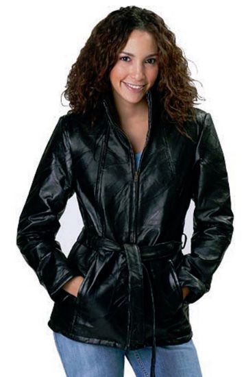 XL Womens Ladies Black Leather Motorcycle Jacket Expedited Shipping