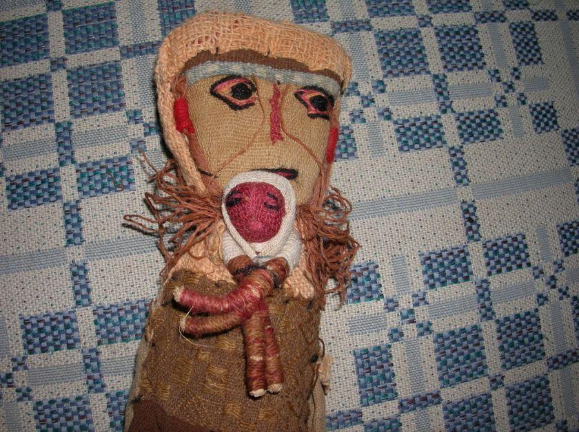 RARE Handmade Primitive Doll Mom & Baby Antique Burlap INDIAN Native