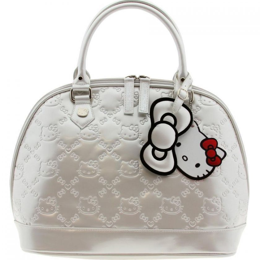 HELLO KITTY NEW SATCHEL BAG PURSE IVORY WHITE PEARL PATENT EMBOSSED BY