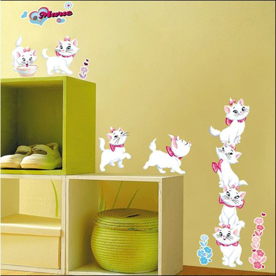 MARIE CAT KIDS NURSERY ROOM Adhesive Removable Wall Decor Accents