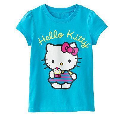 HELLO KITTY Girls Blue Short Sleeve Tee Shirt NWT $20