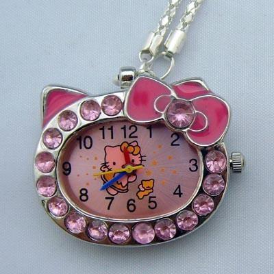 hello kitty crystal necklace pendant pocket children girl quartz watch