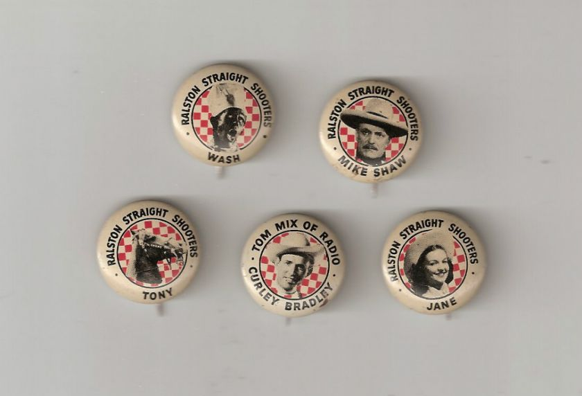 Complete Set of Tom Mix Code Pinback Buttons   Pins