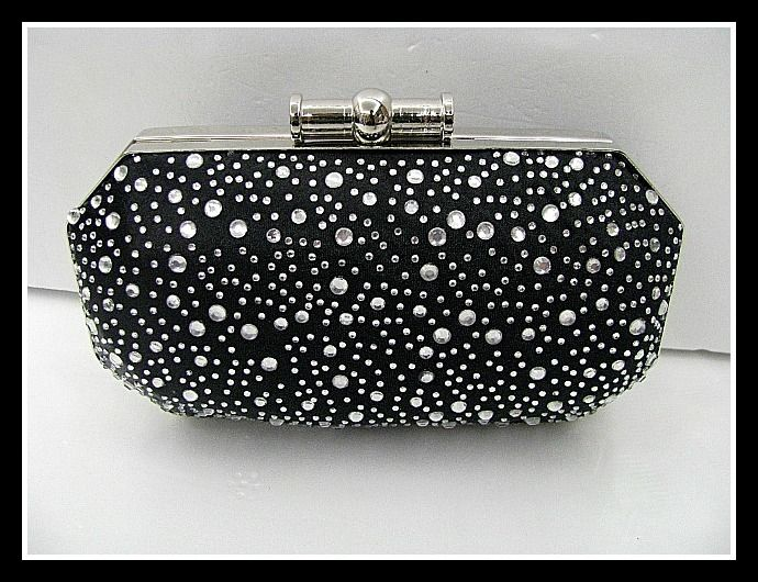 Black/Silver Satin & Rhinestone Hard Case  Evening clutch bag #171