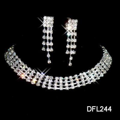 Wedding Bridal crystal necklace earring set TL0244