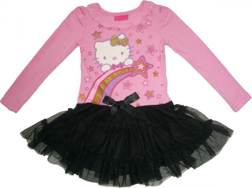 Sanrio Hello Kitty Girls Pink + Black Tulle Dress Size 2T 6X